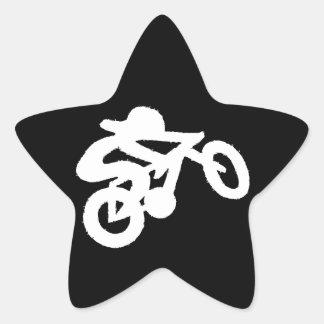 Bike Rider Black n White Star Sticker