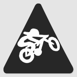 Bike Rider Black n White Triangle Sticker