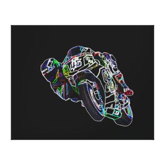 Bike Rider Glowing Motorcycle Circle Racing Sketch Canvas Print