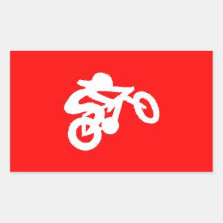 Bike Rider Red Rectangular Sticker