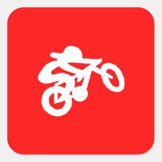 Bike Rider Red Square Sticker
