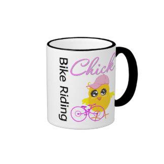 Bike Riding Chick Mugs