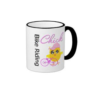 Bike Riding Chick Ringer Coffee Mug