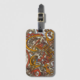 Bike Riding In Traffic-Abstract Art Hand Painted Luggage Tag