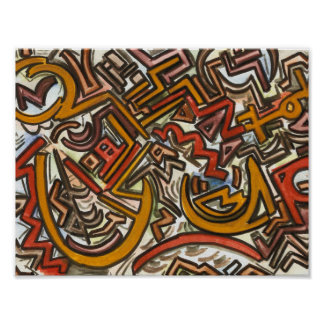 Bike Riding In Traffic-Abstract Art Handpainted Poster