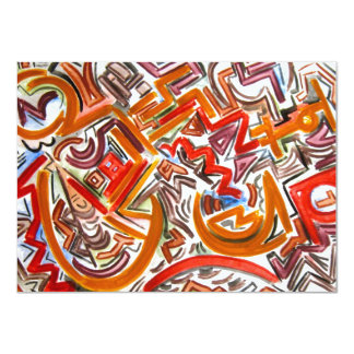 Bike Riding In Traffic - Abstract Art 4.5x6.25 Paper Invitation Card