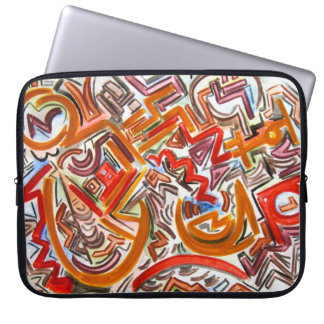 Bike Riding In Traffic-Hand Painted Abstract Art Computer Sleeve