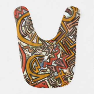 Bike Riding In Traffic-Modern Watercolor And Ink Baby Bib