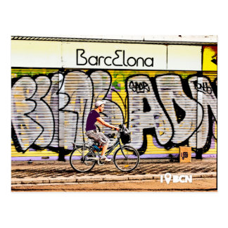 Bike riding on Barcelona, Spain Postcard