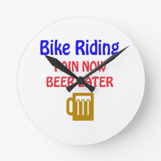 bike riding pain now beer later wall clocks