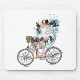 Bike riding to the beach mouse pad