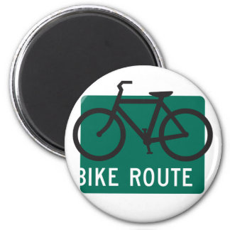Bike Route-Blk 2 Inch Round Magnet