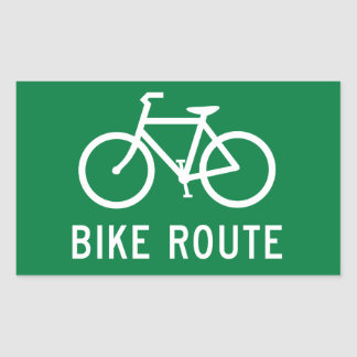 Bike Route Cycling Path Bicycle Lane Road Sign Rectangular Sticker