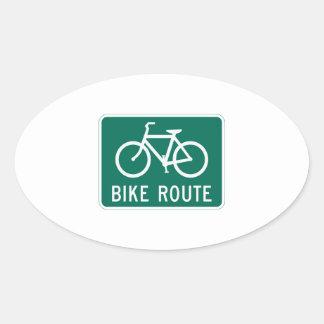Bike route oval sticker