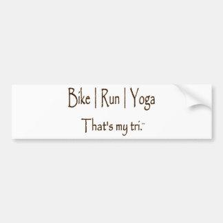 Bike | Run | Yoga Car Bumper Sticker