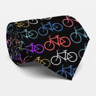 Bike Silhouettes Trendy Shades of Color Black Back Neck Tie