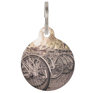 Bike Themed, Lined Of Bicycle In The Paving Yard S Pet Name Tag