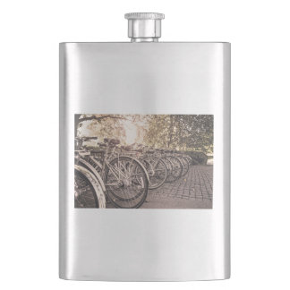 Bike Themed, Lined Of Bicycle In The Paving Yard S Flask