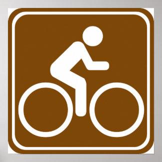Bike Trail Highway Sign Poster