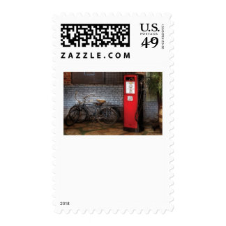 Bike - Two Bikes and a Gas Pump Postage Stamp