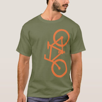 Bike, Vertical Silhouette, Orange Design T-Shirt
