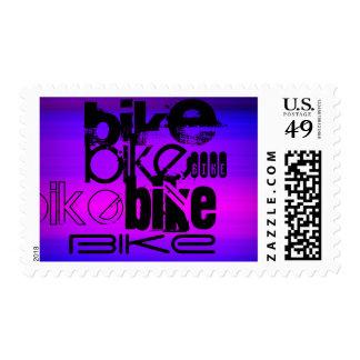 Bike; Vibrant Violet Blue and Magenta Postage Stamp