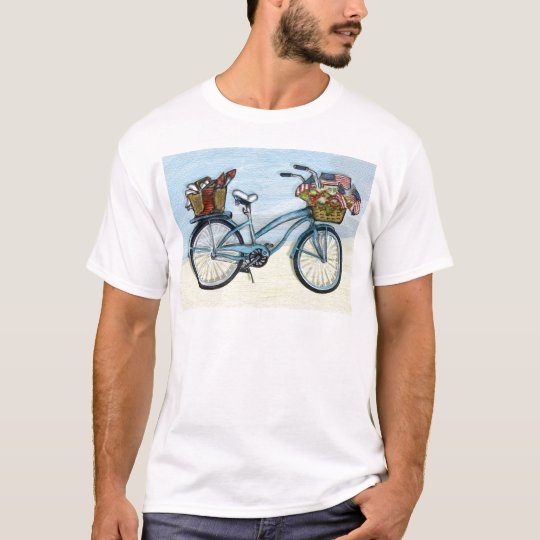 Bike with American flags-basket T-Shirt