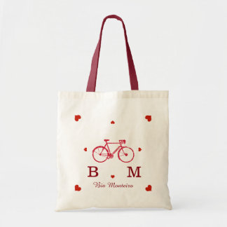 bike with initials and name personalized tote bag