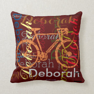 bike with patterned name personalized throw pillow
