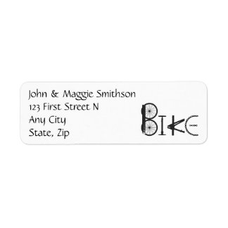 BIKE word made of Bike parts Custom Address Label