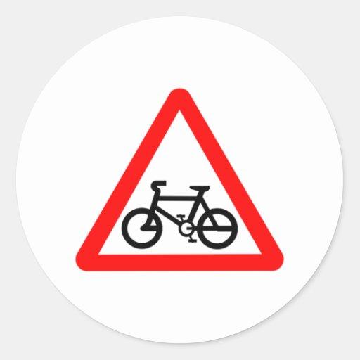 Bike Yield Sign Classic Round Sticker