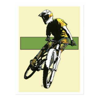 Biker1 - Cream/Green Postcard