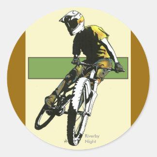 Biker1 - Cream/Green Round Stickers
