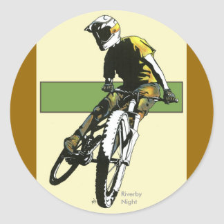 Biker1 - Crema/verde Pegatina Redonda
