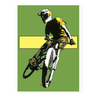 Biker1 - Green/Yellow Postcard