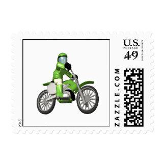 Biker 3 postage stamp