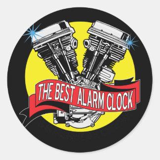Biker Alarm Clock Classic Round Sticker