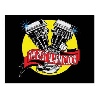 Biker Alarm Clock Postcard