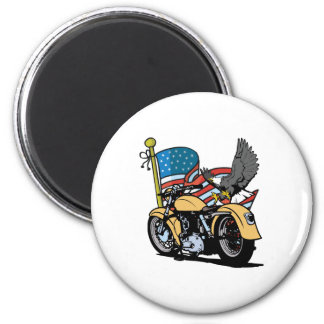 Biker American Eagle 2 Inch Round Magnet