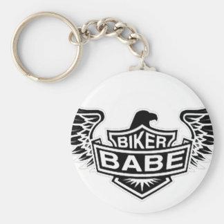 Biker Babe Basic Round Button Keychain
