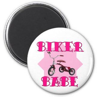 Biker Babe /pink 2 Inch Round Magnet