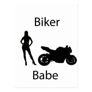 Biker babe postcard