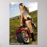 Biker Babe Poster - Brunette Biker Babe