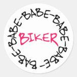 Biker Babe Round Sticker