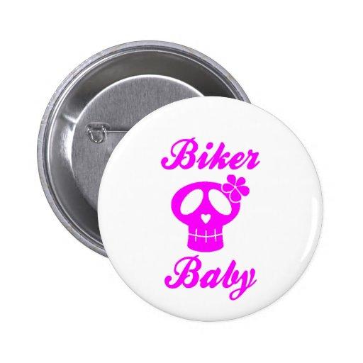 Biker Baby Pink Skull 2 Inch Round Button