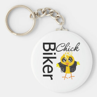 Biker Chick Basic Round Button Keychain