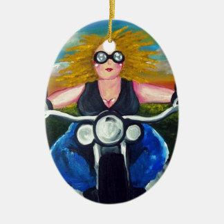 Biker Chick Diva Fun Folk Art Harley Whimsical Christmas Ornament