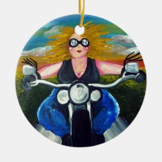 Biker Chick Diva Fun Folk Art Harley Whimsical Christmas Ornaments