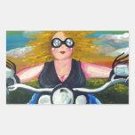 Biker Chick Diva Fun Folk Art Harley Whimsical Rectangle Sticker