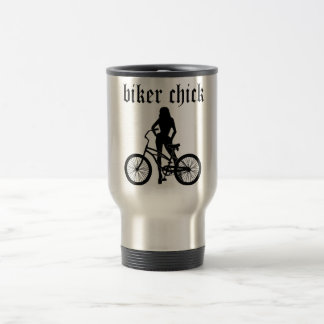 """""""Biker chick"""" female silhouette with bicycle! Travel Mug"""